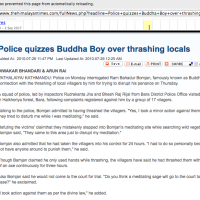 "Media coverage of controversial ""Buddha Boy"" (Ram Bomjon)"